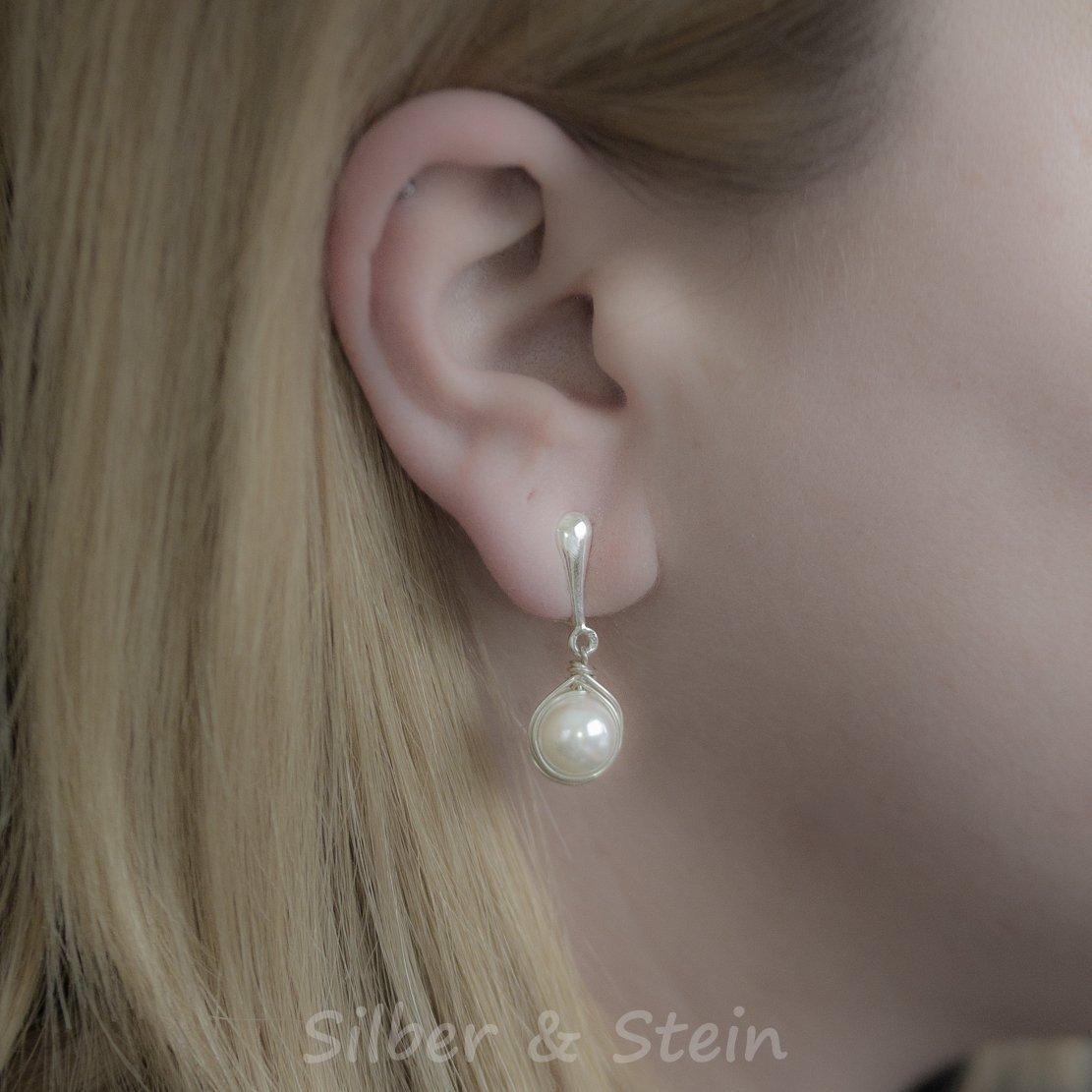 offizieller Verkauf Keine Verkaufssteuer begrenzter Verkauf Festliche Ohrclips mit weißen Perlen ♥ Design von Silber&Stein
